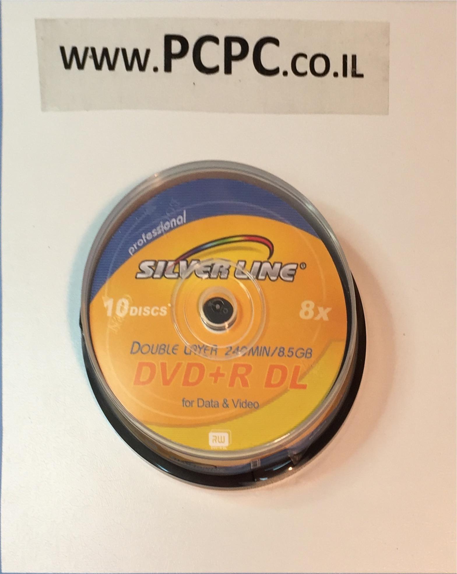 דיסק 8.5 גיגה DVD+R DL בקופסה 10 יחידות SILVER LINE