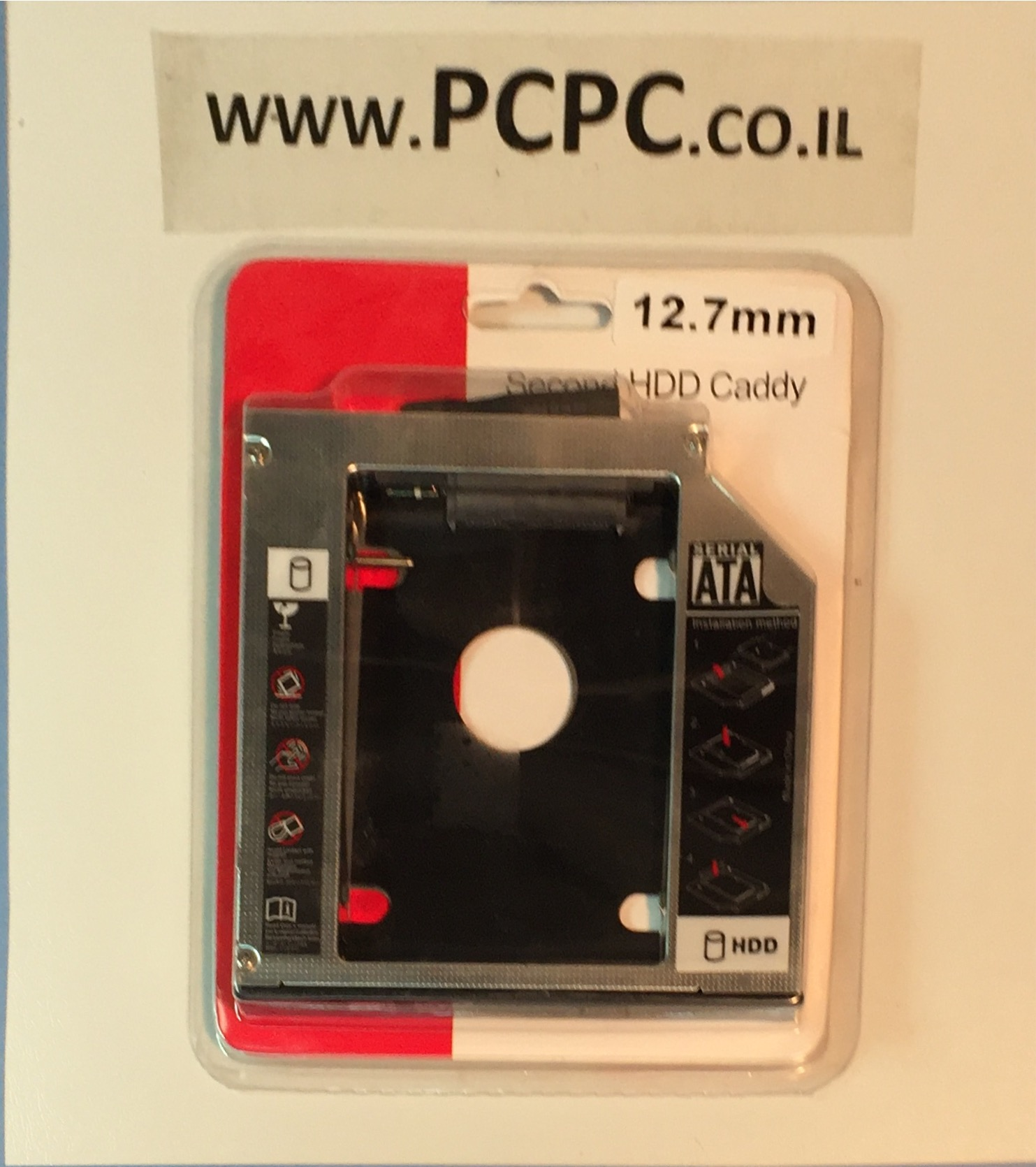 """מתאם לחיבור דיסק קשיח  במקום צורב DVD למחשב נייד 12.7 מ""""מ"""