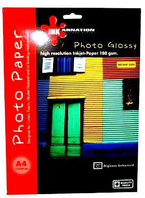 נייר פוטו גלוסי-מבריק 190 גרם  50 דףINKARNTION A4