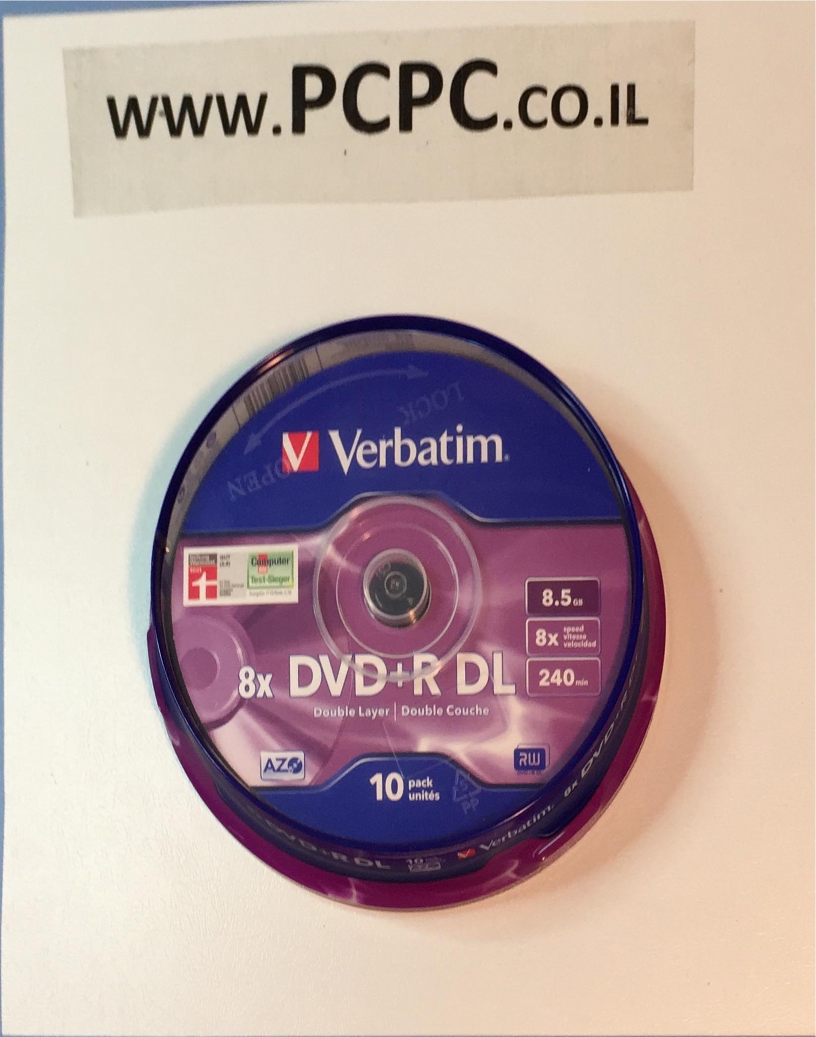 דיסק 8.5 גיגה DVD+R DL  בקופסה 10 יחידות VERBATIM