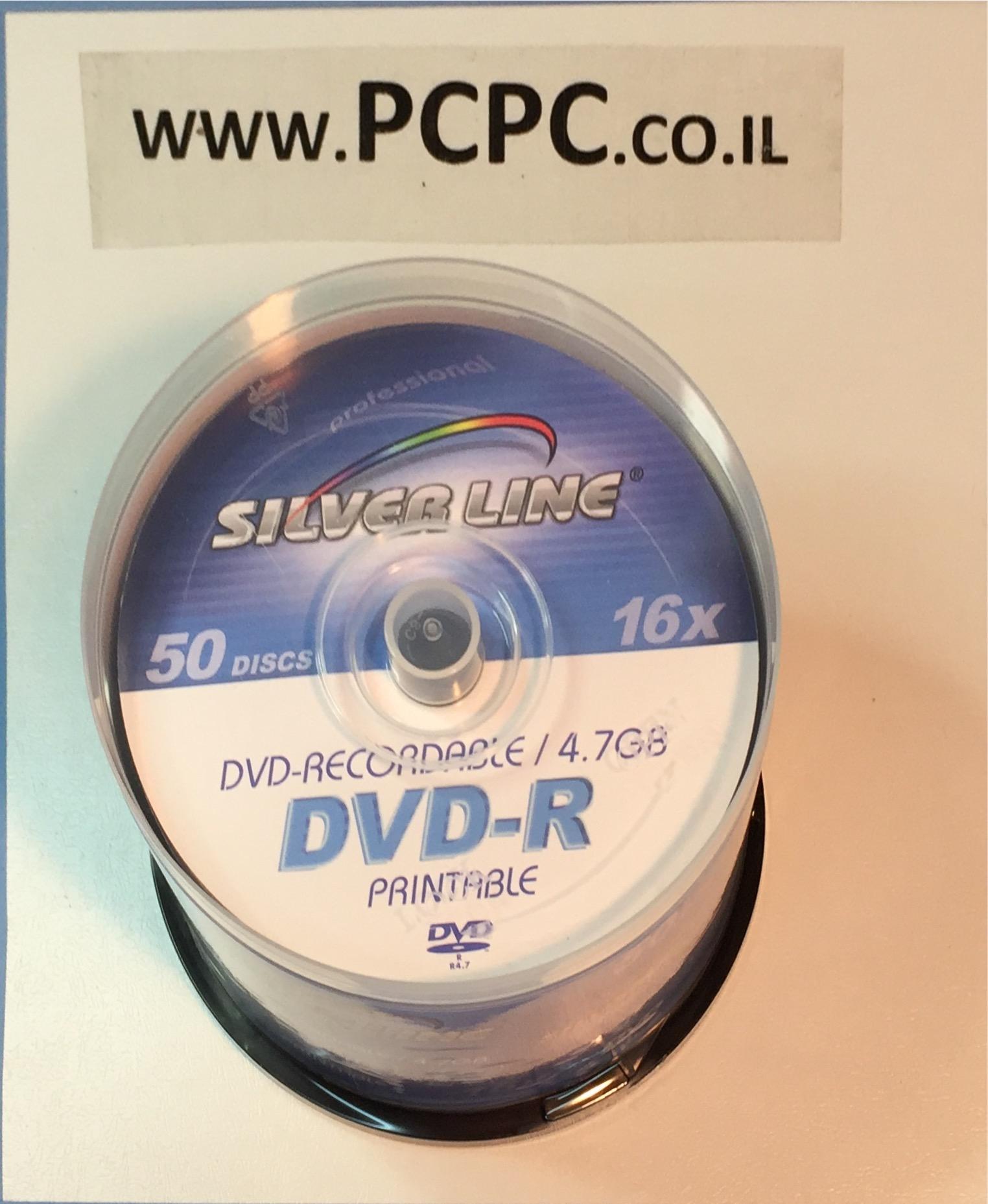דיסקים 4.7GBx16 PRITABLE DVDR    של 50 יחידות SILVER LINE