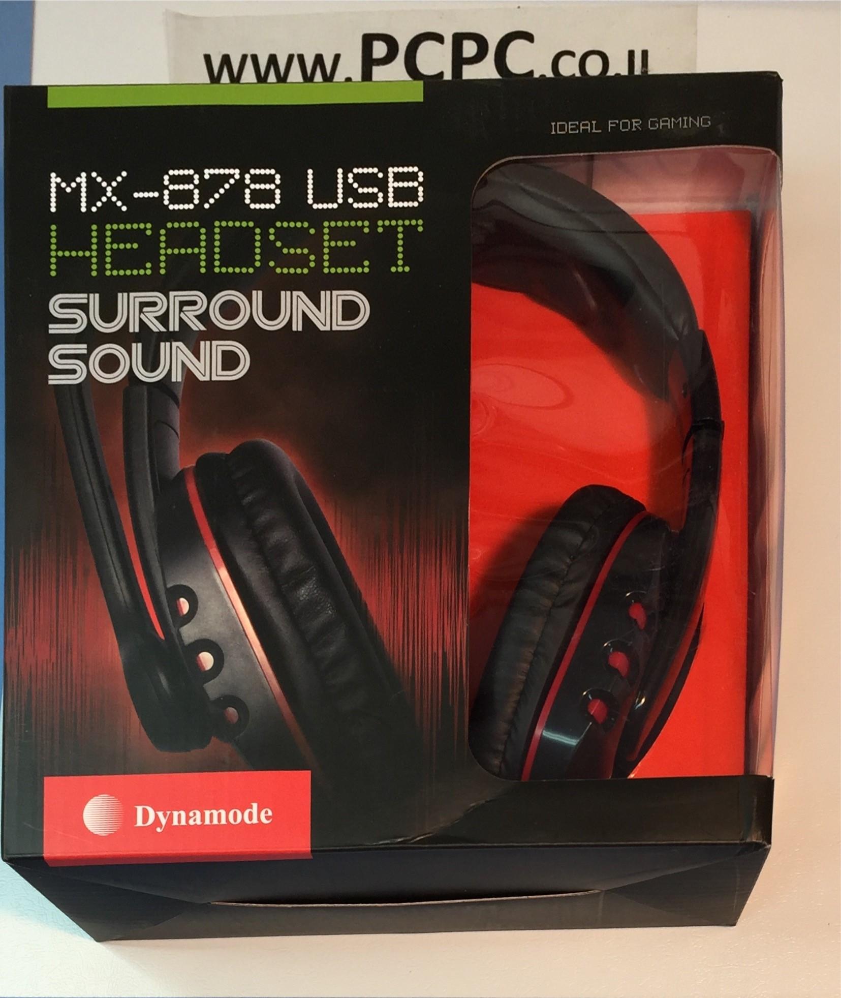 אוזניות+מיקרופון  חיבור USB  לגימרים  MX-878 DYNAMODE