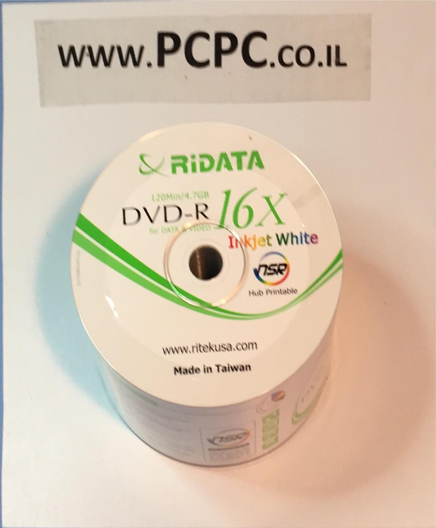 דיסקים 4.7GBx16 PRITABLE DVDR  של 50 יחידות RIDATA