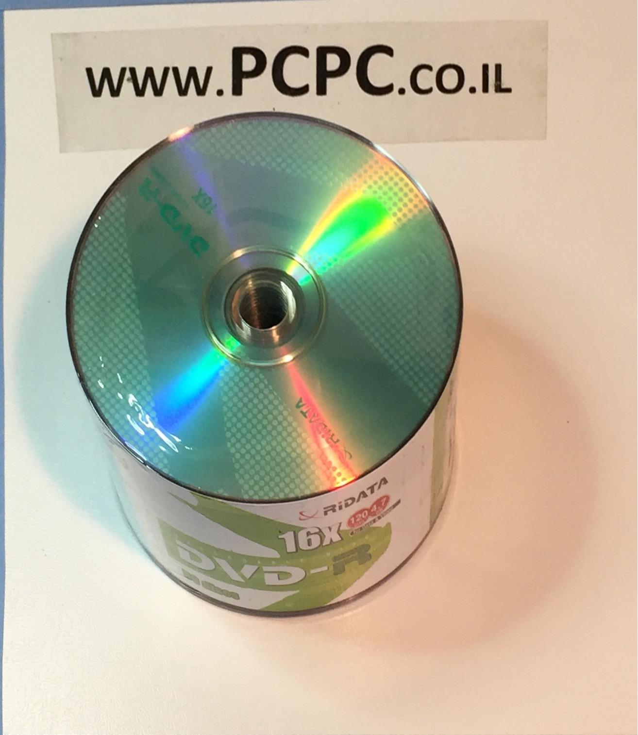 דיסק 4.7X16 גיגה ל DVDR CAKE של 50 יחידות  RIDATA