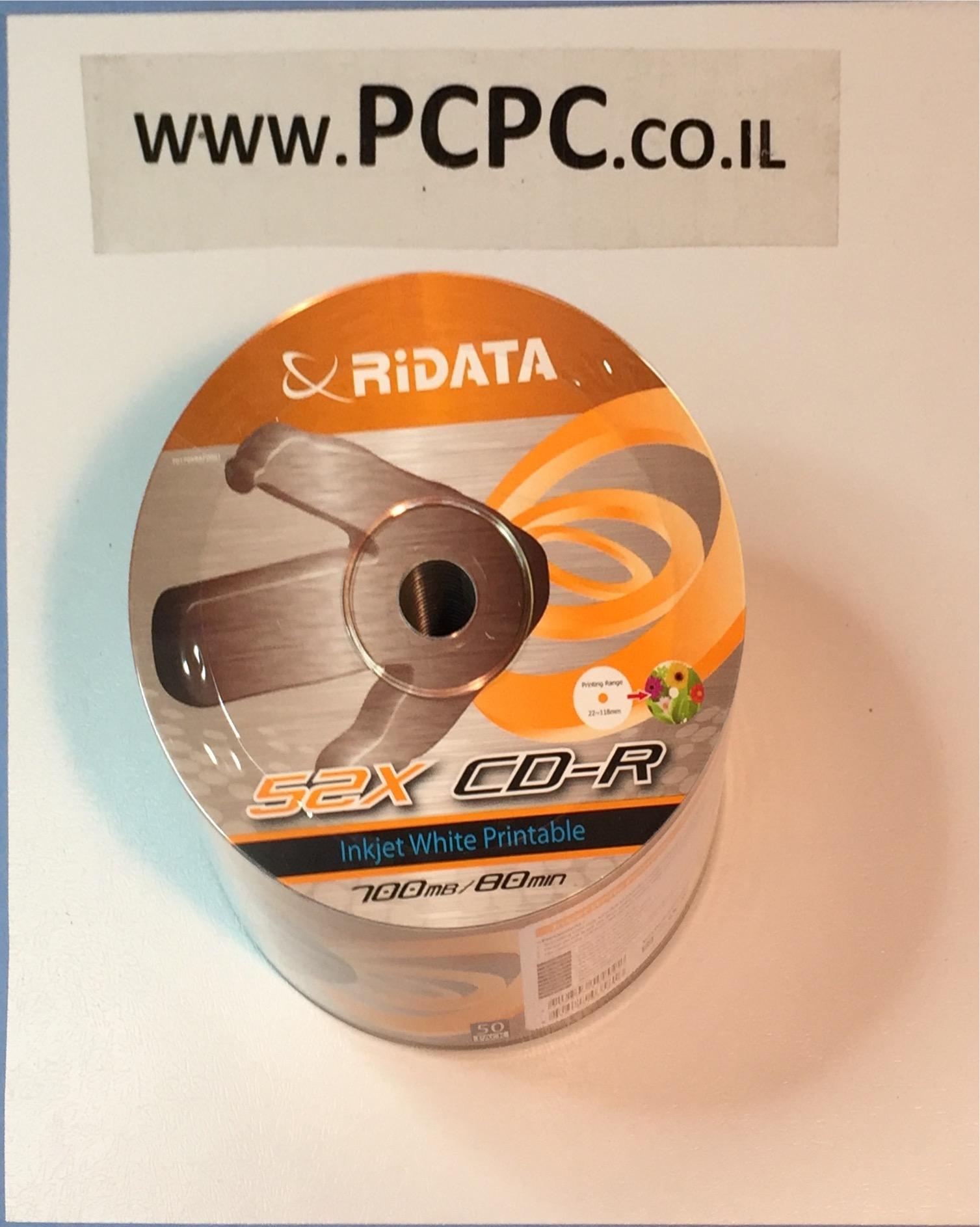 דיסק 700 מגה 50 יחידות   RIDATA  PRINTABLE