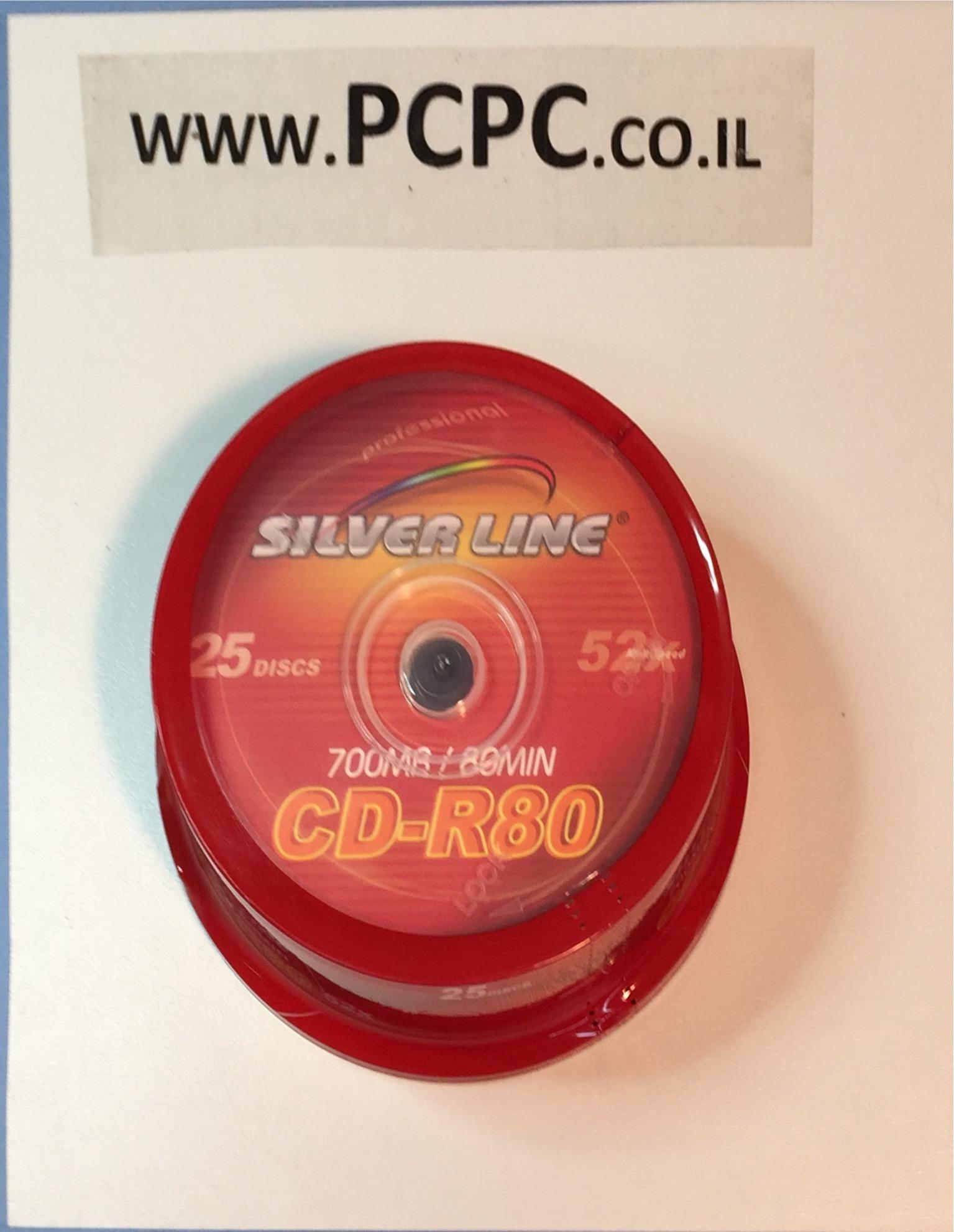 דיסק  700  מגה 25 יחידות   SILVER LINE CAKE