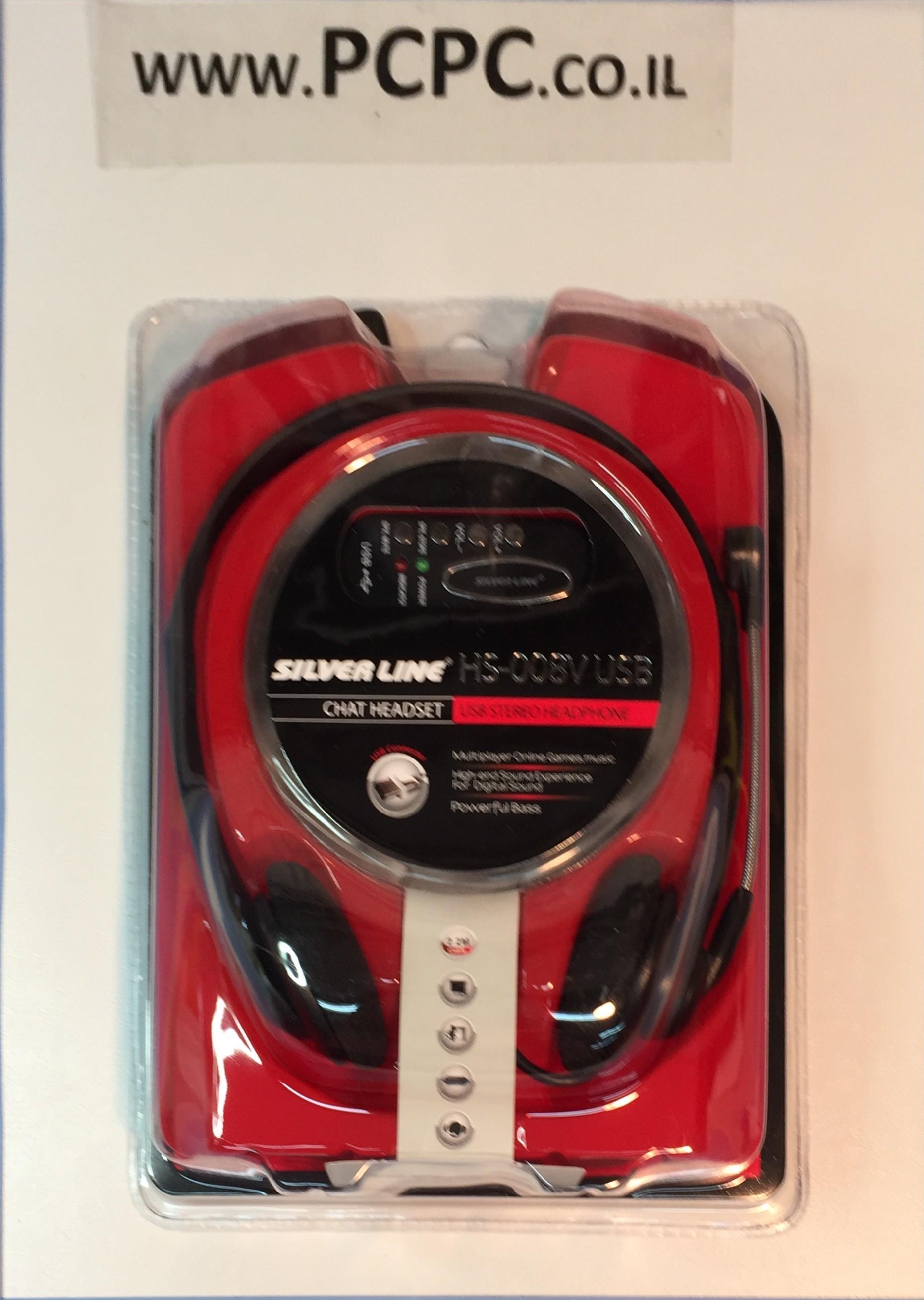 אוזניות+מיקרופון  חיבור USB   SILVER LINE HS008