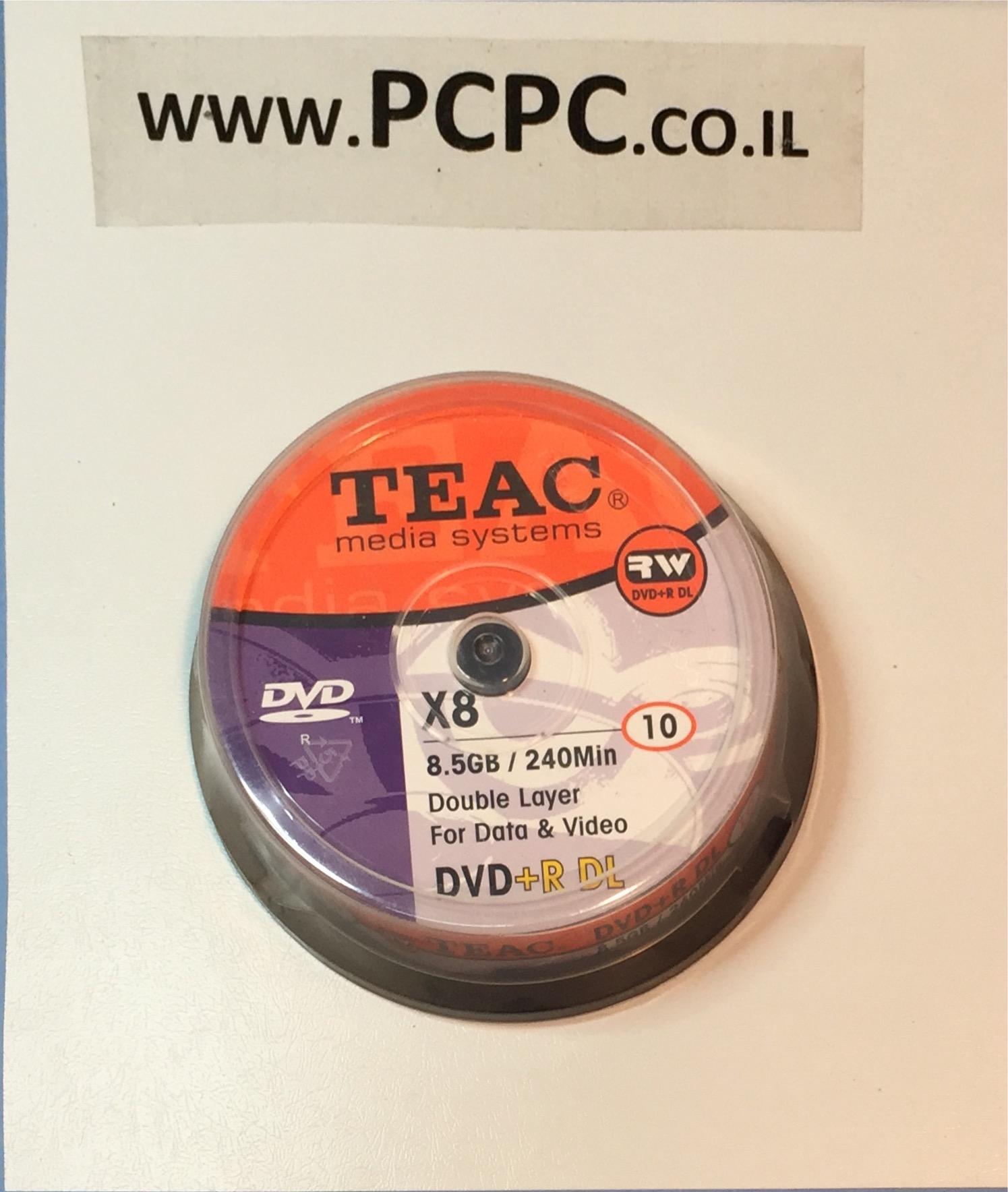 דיסק 8.5 גיגה DVD+R DL בקופסה יחידות 10 TEAC
