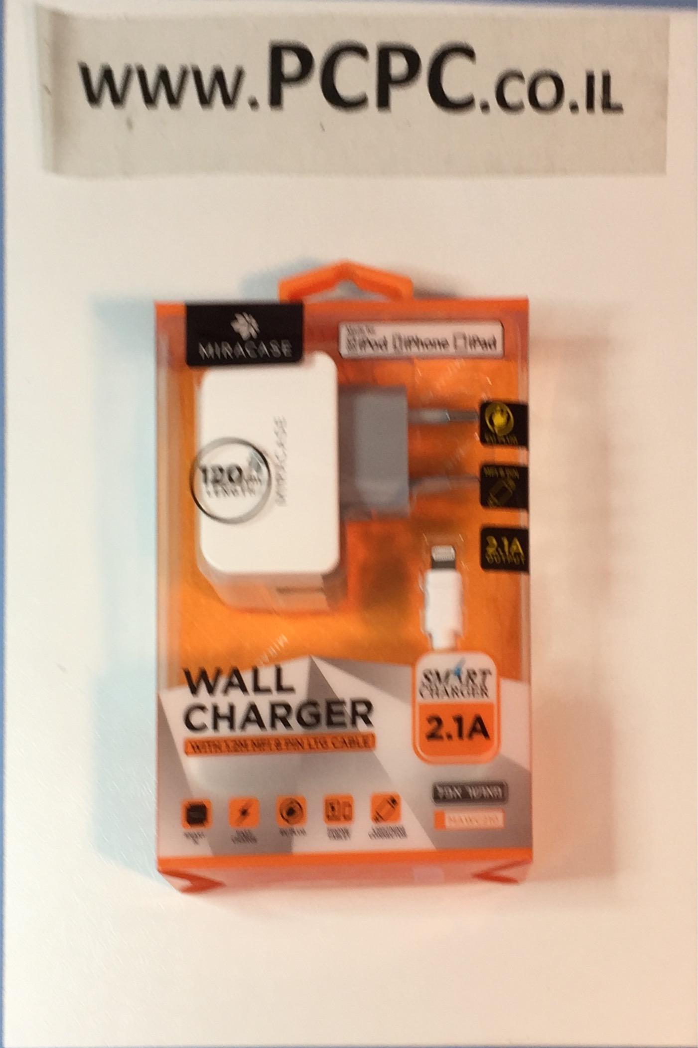 מטען חשמל לקיר מאושר אפל MIRACASE IPHONE 5/6/7  1.2M 2.4A