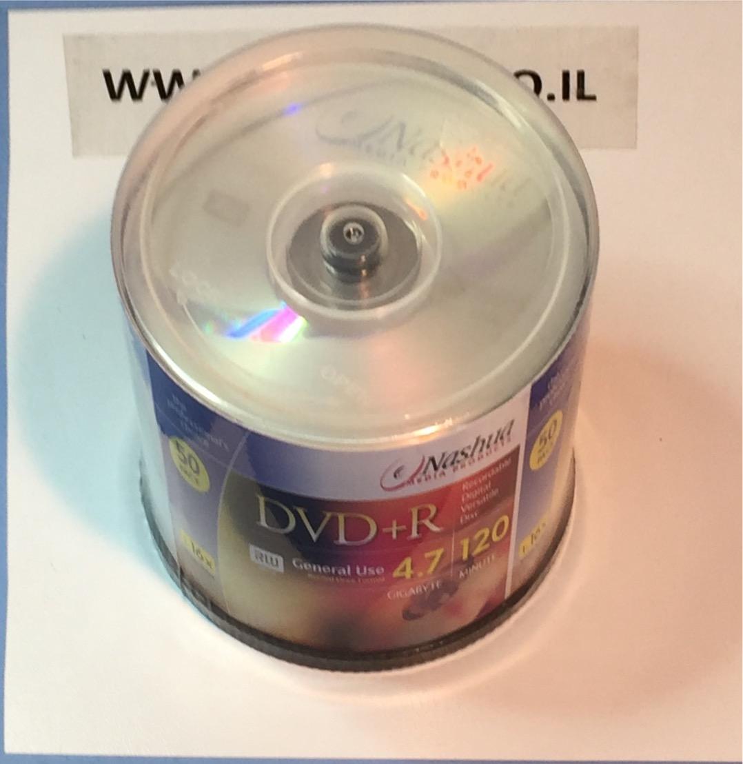 דיסק 4.7X8 גיגה ל DVD+R  CAKE של 50 יחידות NASHUA