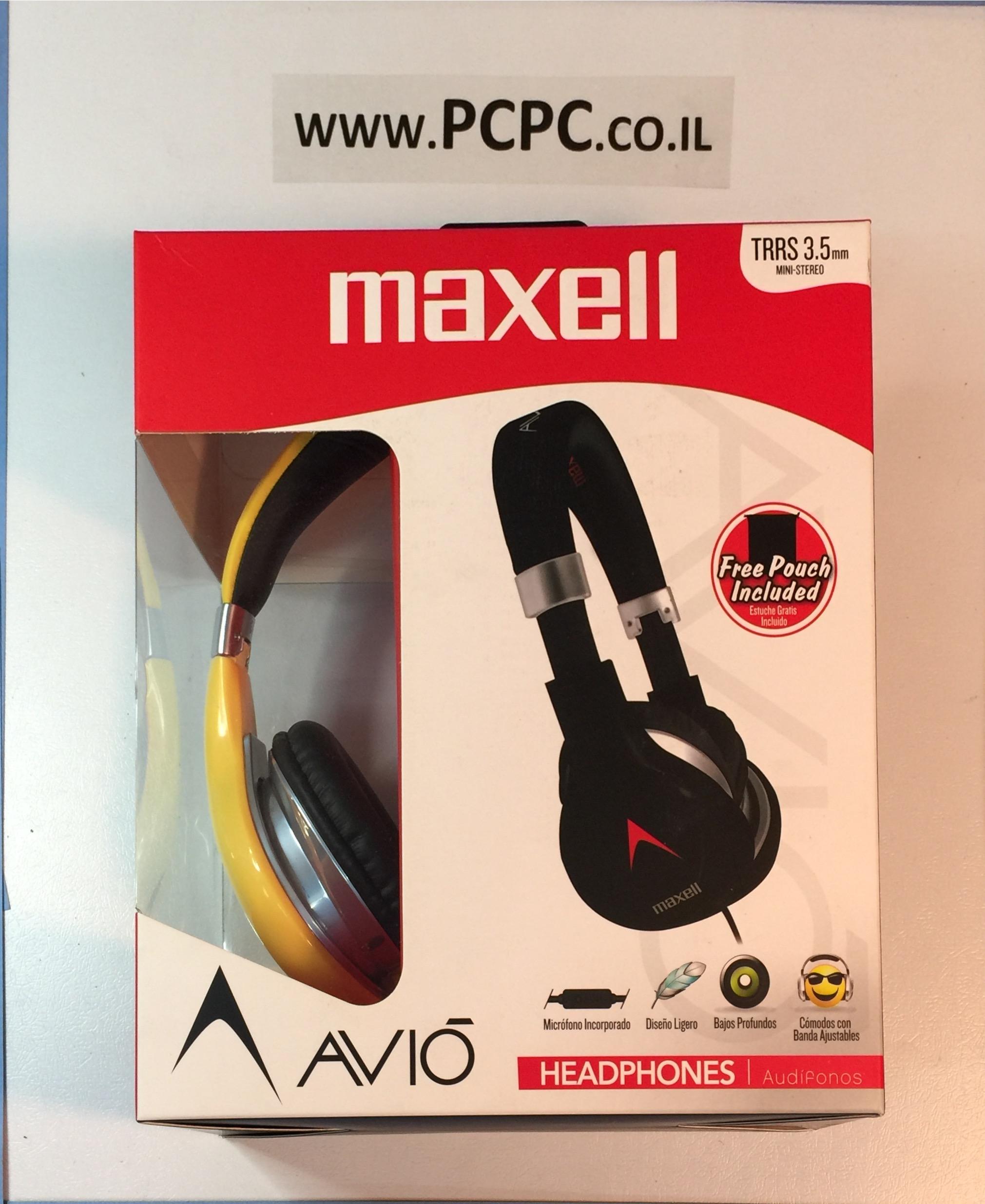 אוזניות עם מיקרופון לטלפון סלולרי  MAXELL AVI-300B
