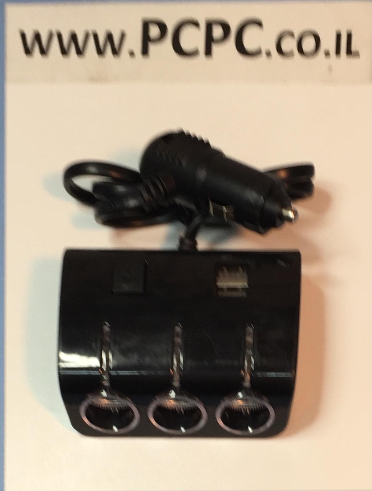 מפצל מצת לרכב ל 3   מצתים עם 2 כניסות USB חשמל 12V-24V