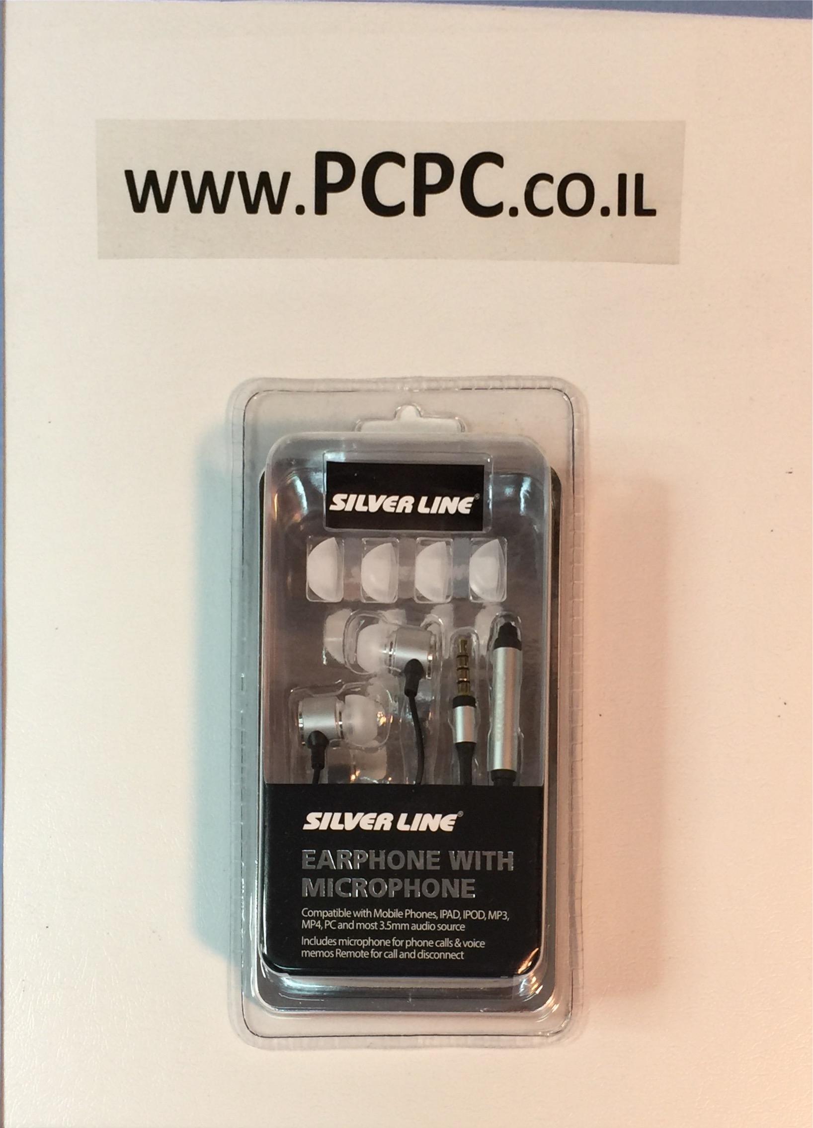 אוזניות סיליקון עם מיקרופון+ווליום  לסלולר      SILVER LINE  FDH-005 IPONE
