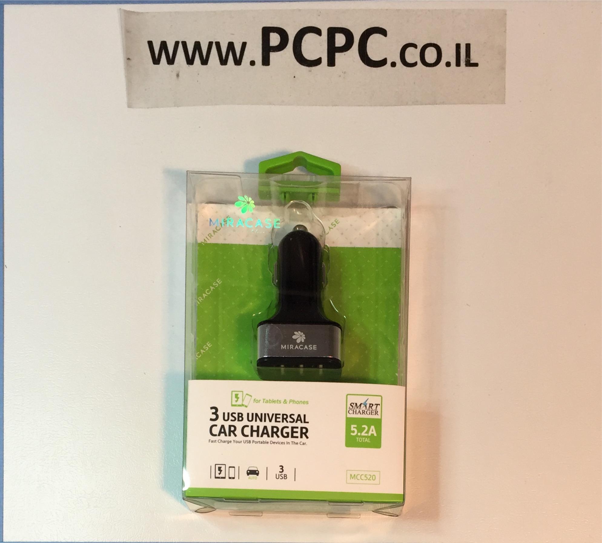 ממיר ממצת רכב 3 יציאות  MIRACASE MCC520 5.2A USB