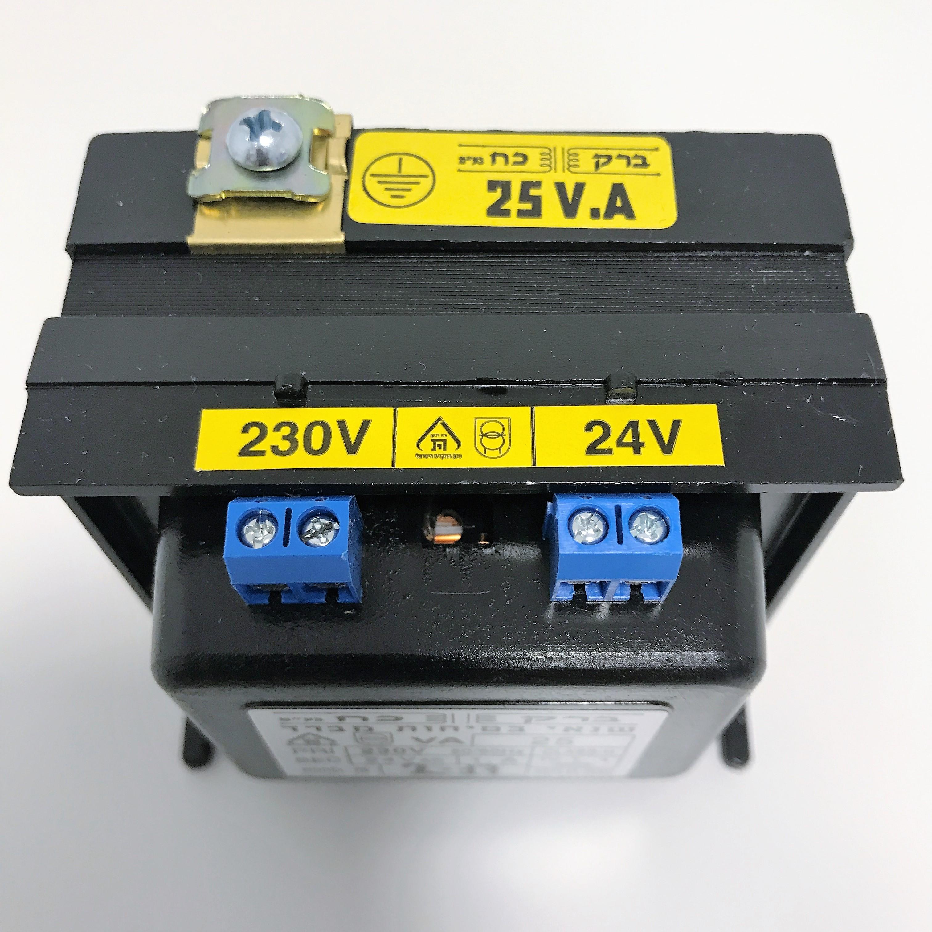 שנאי מבדל בהספק 25VA במתחים 230V-12V+12V