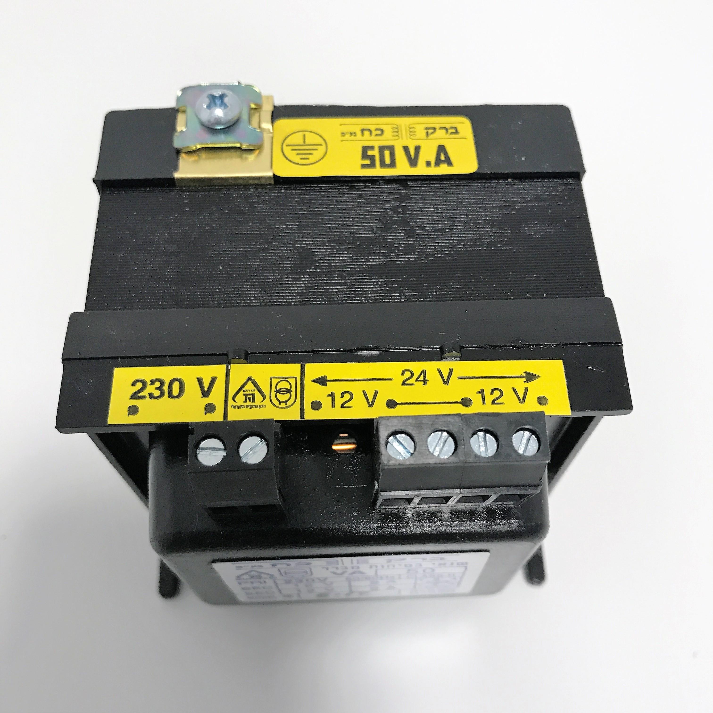 שנאי מבדל בהספק 50VA במתחים 230V-12V+12V