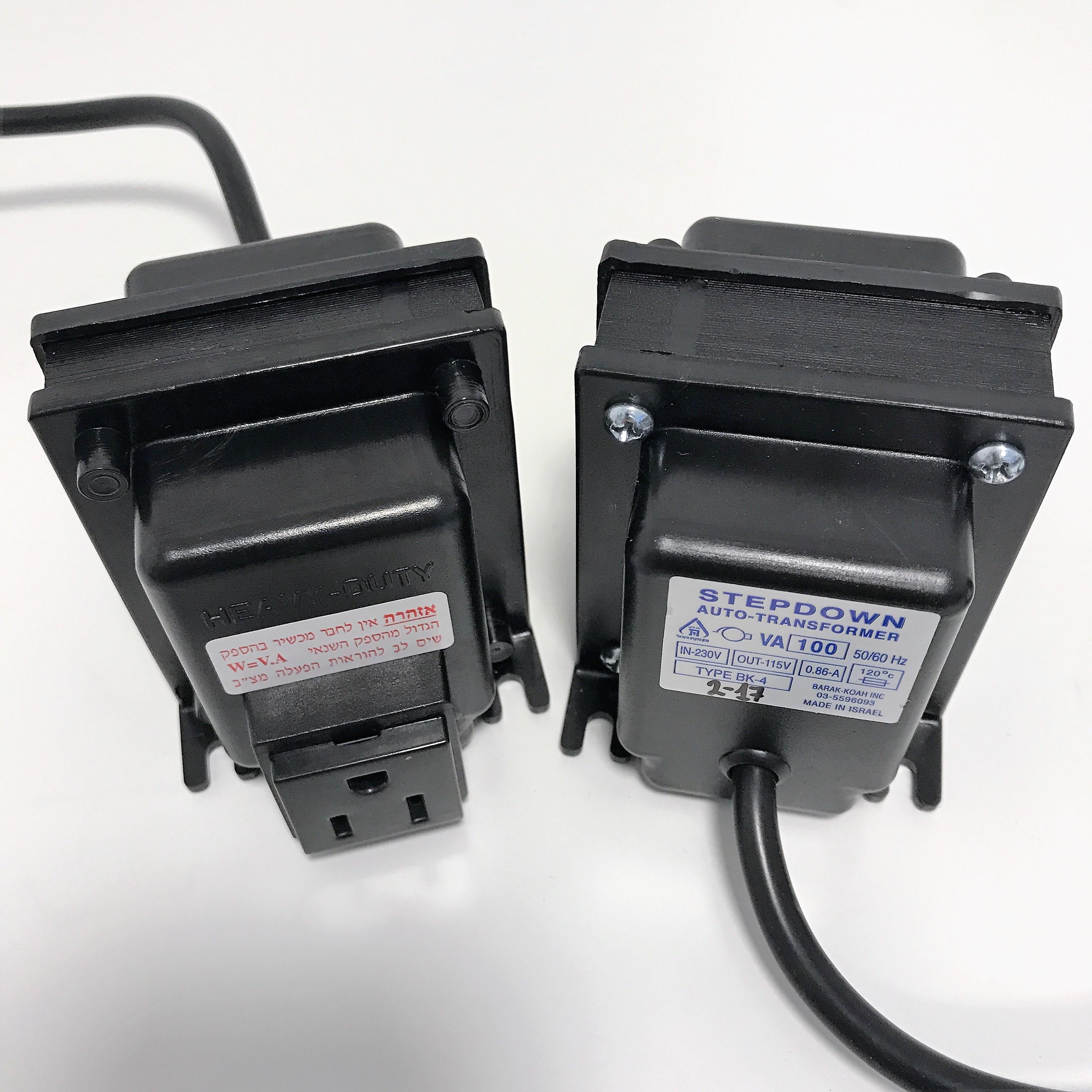שנאי אוטוטרפו בהספק 200VA (למכשיר אמריקאי 115V)