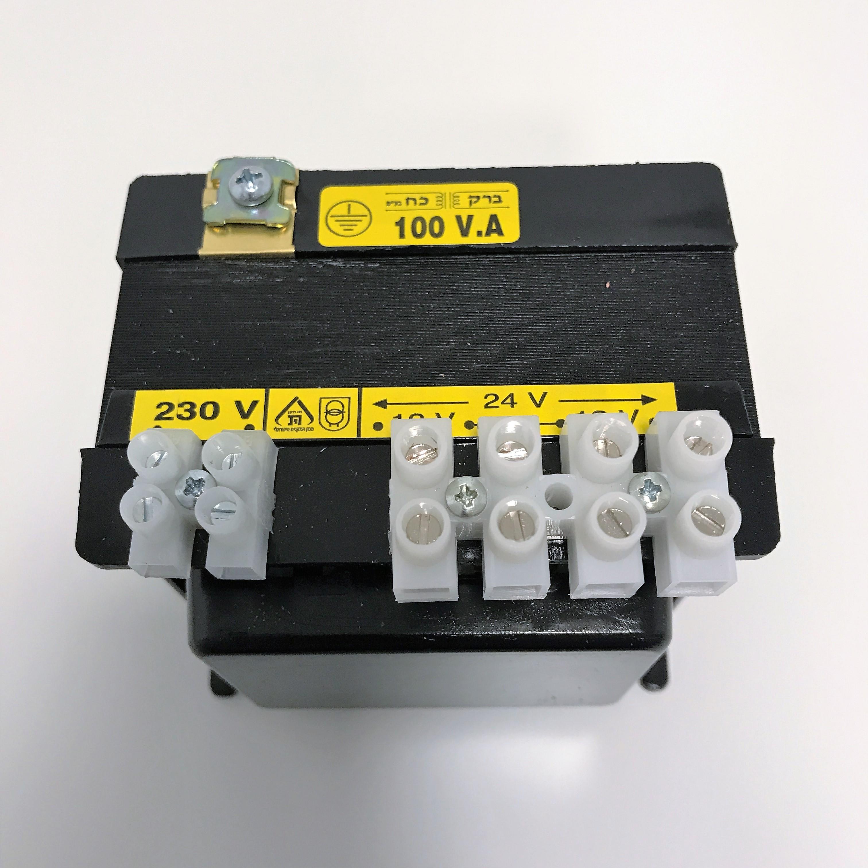 שנאי מבדל בהספק 100VA במתחים 230V-12V+12V