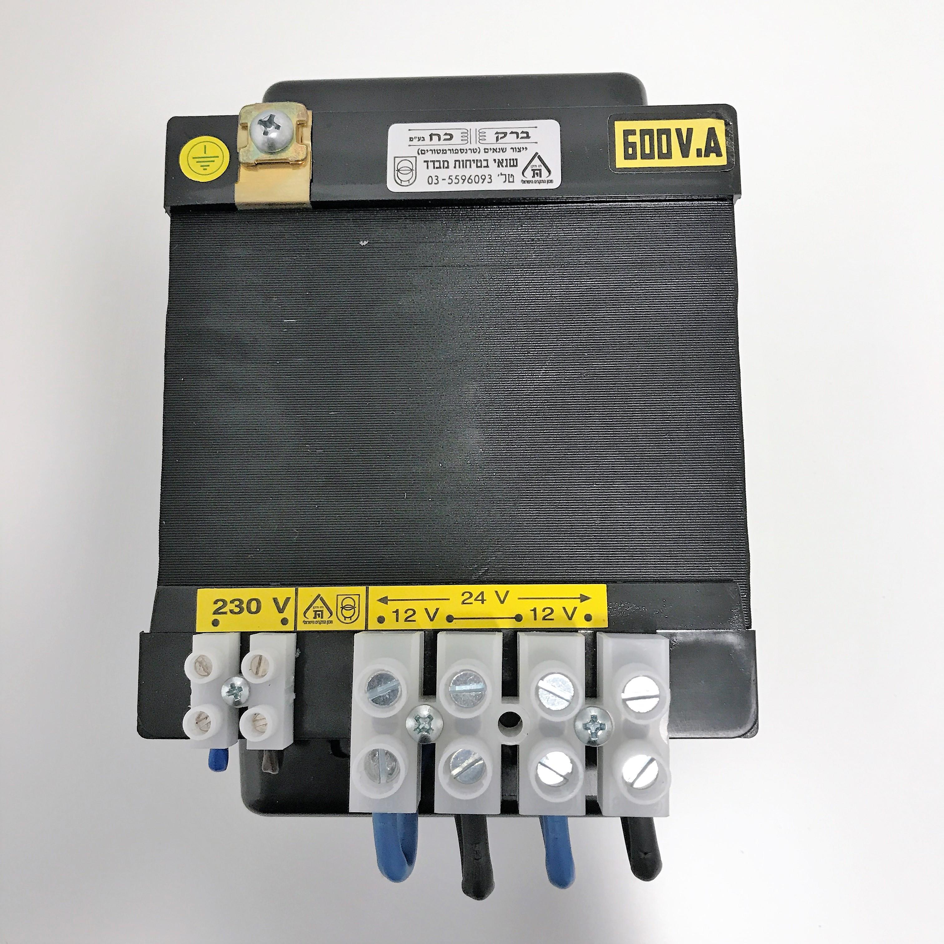 שנאי מבדל בהספק 600VA במתחים 230V-12V+12V