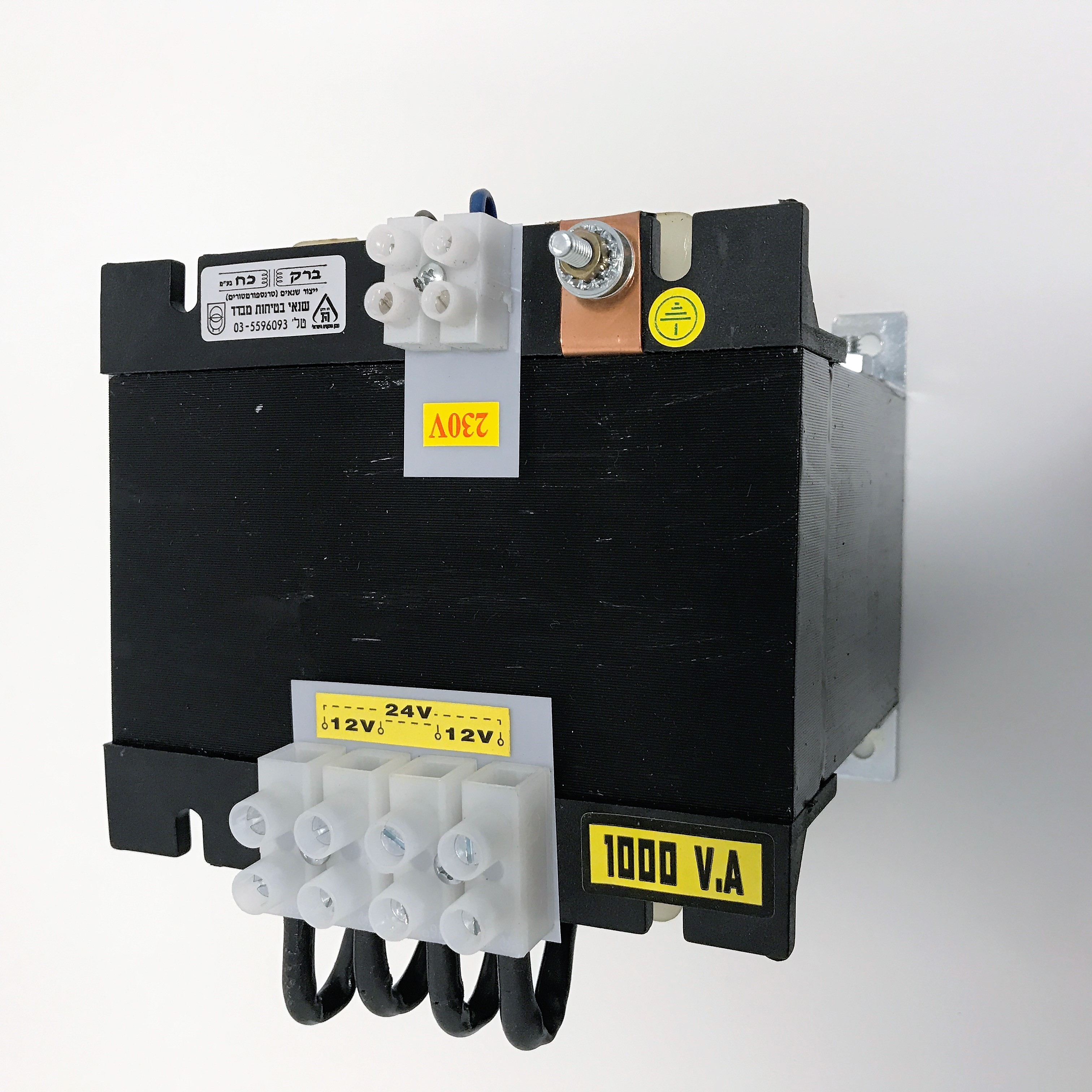 שנאי מבדל בהספק 1000VA במתחים 230V-12V+12V